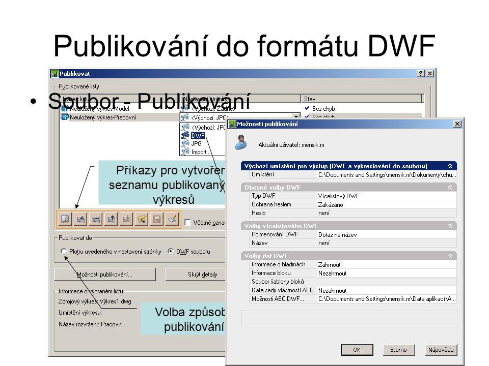 Příkazy pro vytvoření seznamu publikovaných výkresů Volba způsobu publikování Publikování do formátu DWF Soubor - Publikování