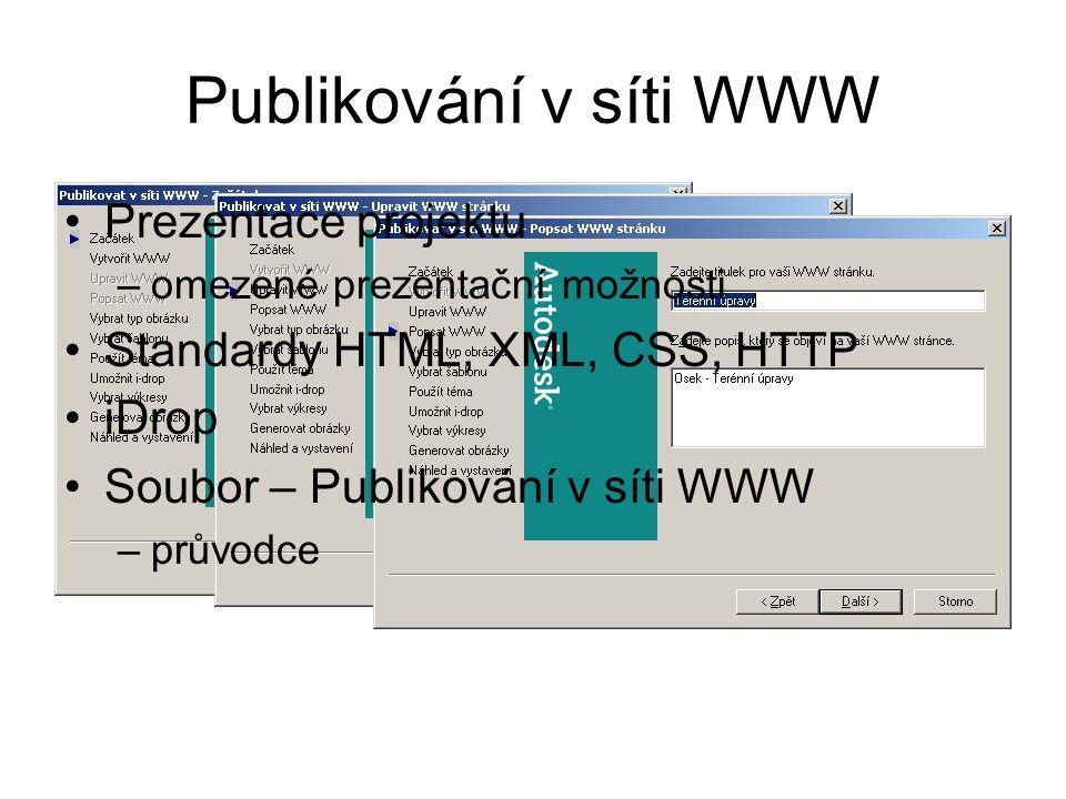 Publikování v síti WWW Prezentace projektu –omezené prezentační možnosti Standardy HTML, XML, CSS, HTTP iDrop Soubor – Publikování v síti WWW –průvodc