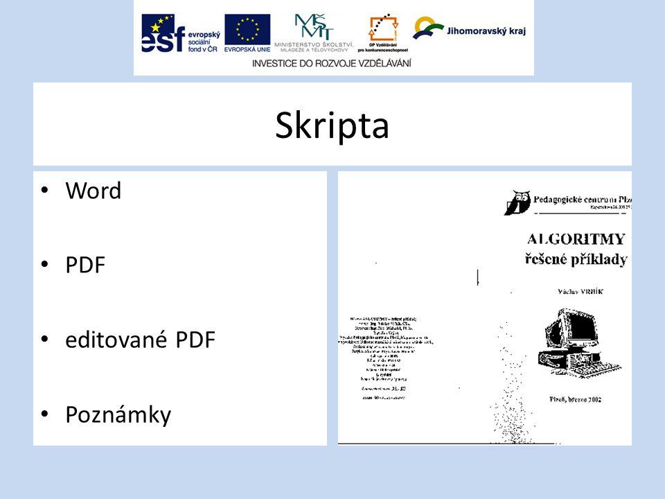 Skripta Word PDF editované PDF Poznámky