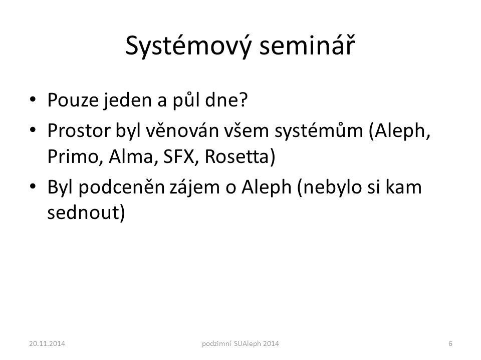 Systémový seminář Pouze jeden a půl dne.
