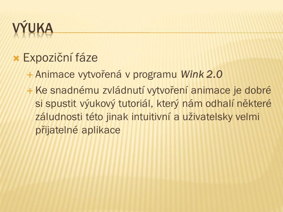 Expoziční fáze  Animace vytvořená v programu Wink 2.0  Ke snadnému zvládnutí vytvoření animace je dobré si spustit výukový tutoriál, který nám odhalí některé záludnosti této jinak intuitivní a uživatelsky velmi přijatelné aplikace