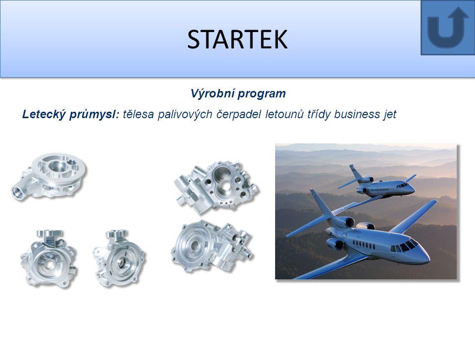 STARTEK Výrobní program Letecký průmysl: tělesa palivových čerpadel letounů třídy business jet