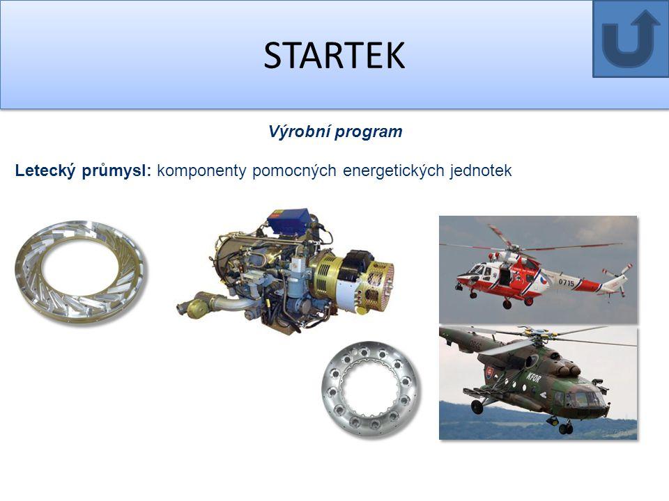 STARTEK Výrobní program Letecký průmysl: komponenty pomocných energetických jednotek