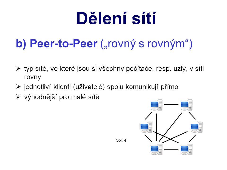 """b) Peer-to-Peer (""""rovný s rovným ) ttyp sítě, ve které jsou si všechny počítače, resp."""