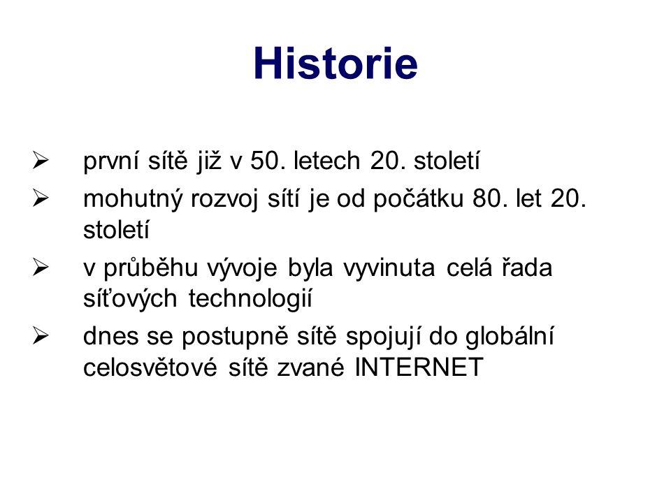 Historie  první sítě již v 50. letech 20. století  mohutný rozvoj sítí je od počátku 80.