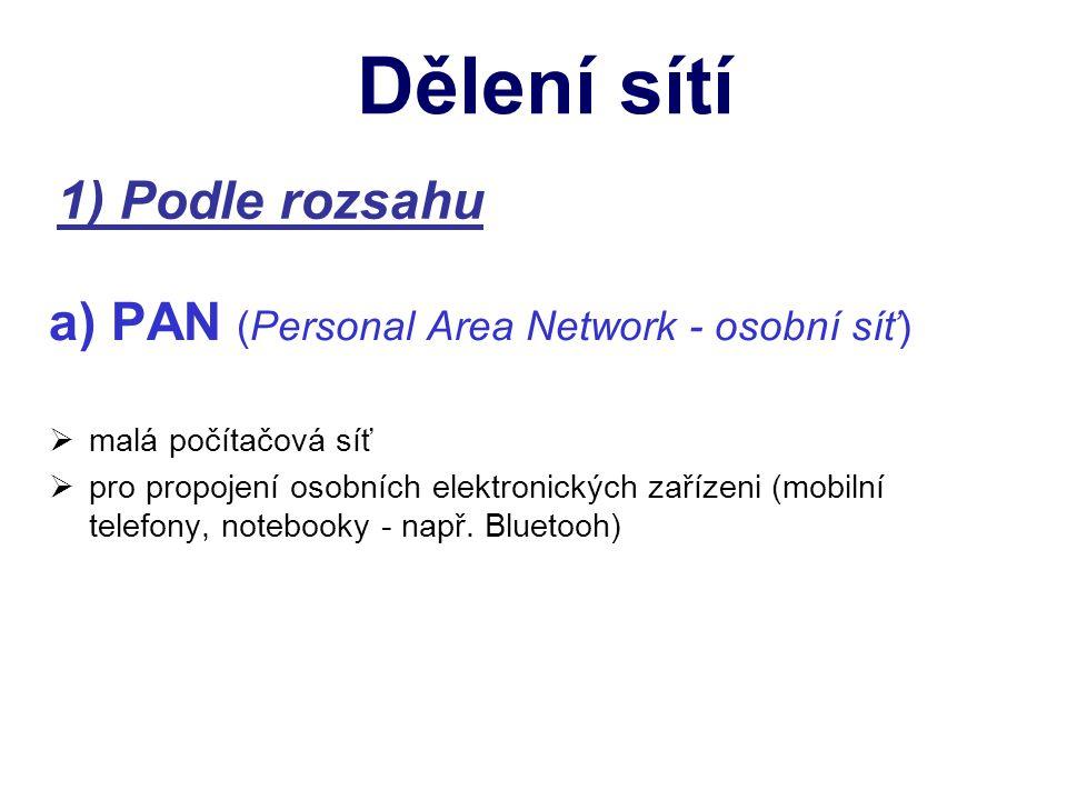 1) Podle rozsahu a) PAN (Personal Area Network - osobní síť) mmalá počítačová síť ppro propojení osobních elektronických zařízeni (mobilní telefony, notebooky - např.
