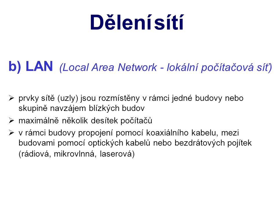 c) MAN (Metropolitan Area Network - metropolitní počítačová síť) nněkolik lokálních sítí navzájem propojených v rámci nějakého území středního rozsahu ssíť velkých podniků nebo síť existující na území většího města sslouží především pro přenos dat, zvuku a obrazu kke spojení se užívají i veřejné komunikační sítě