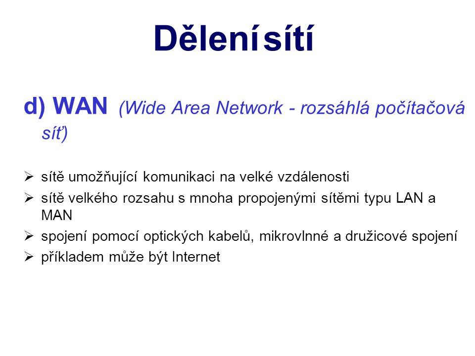 d) WAN (Wide Area Network - rozsáhlá počítačová síť) ssítě umožňující komunikaci na velké vzdálenosti ssítě velkého rozsahu s mnoha propojenými sítěmi typu LAN a MAN sspojení pomocí optických kabelů, mikrovlnné a družicové spojení ppříkladem může být Internet