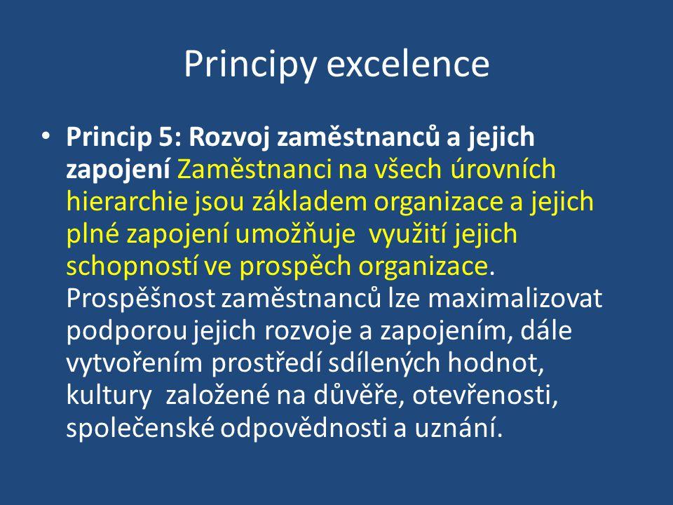 Principy excelence Princip 5: Rozvoj zaměstnanců a jejich zapojení Zaměstnanci na všech úrovních hierarchie jsou základem organizace a jejich plné zapojení umožňuje využití jejich schopností ve prospěch organizace.