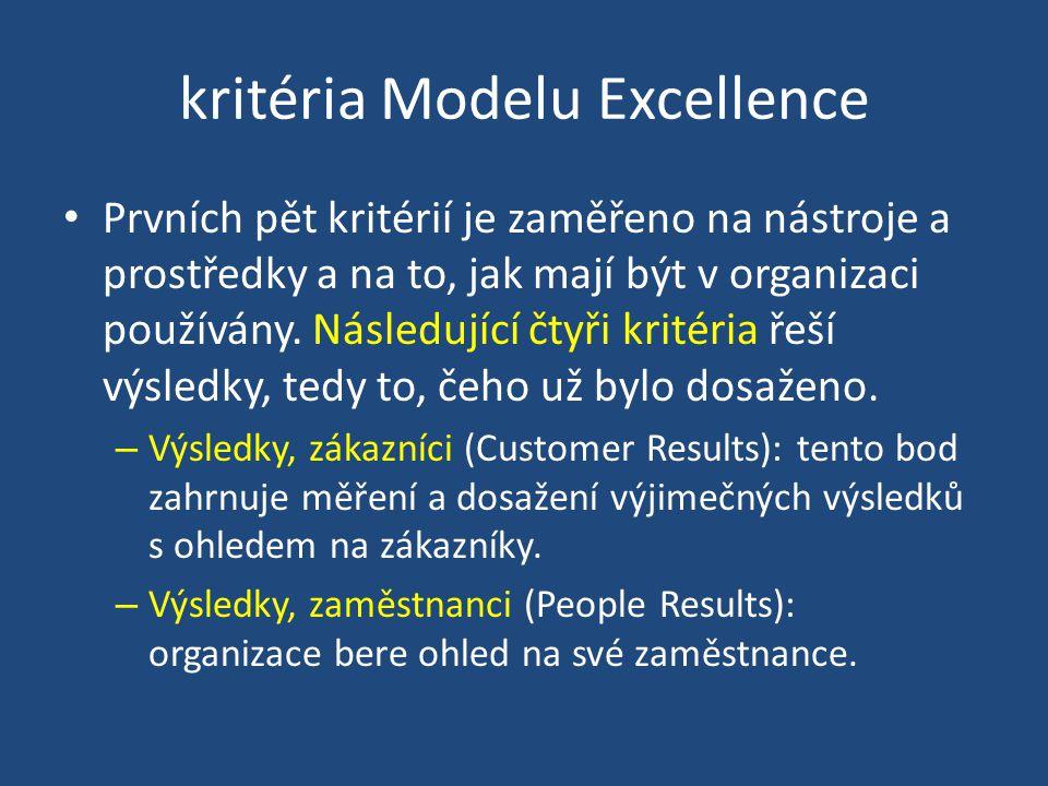 kritéria Modelu Excellence Prvních pět kritérií je zaměřeno na nástroje a prostředky a na to, jak mají být v organizaci používány.