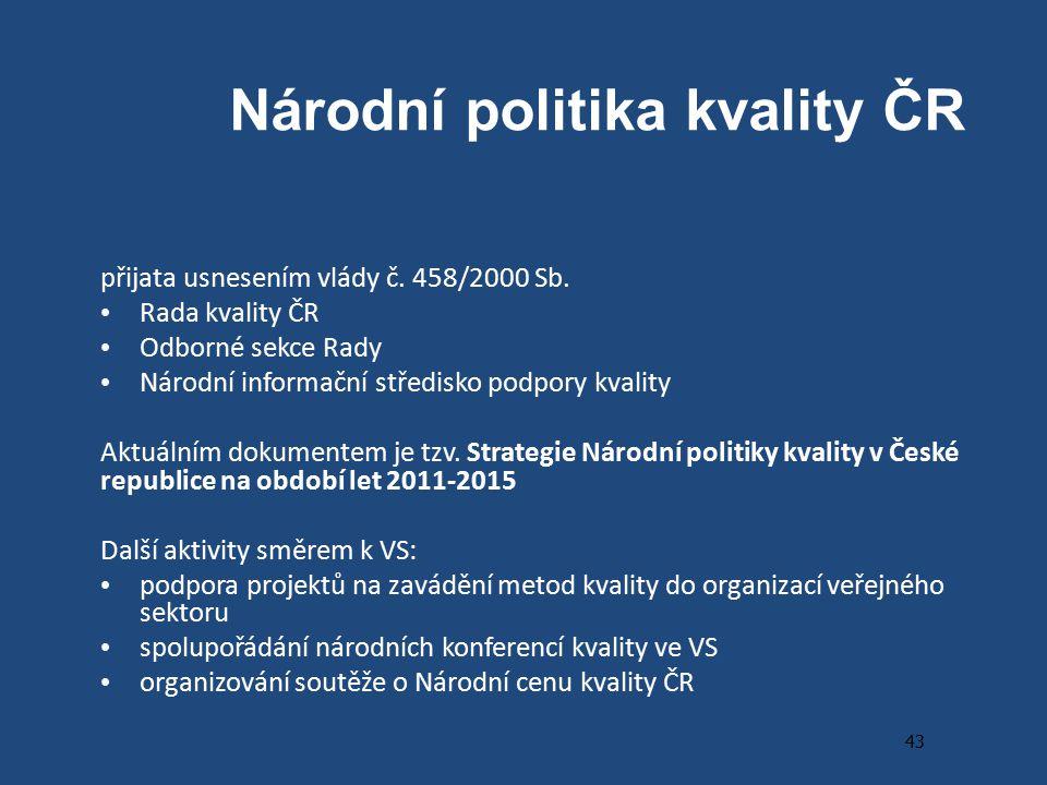 Národní politika kvality ČR přijata usnesením vlády č.