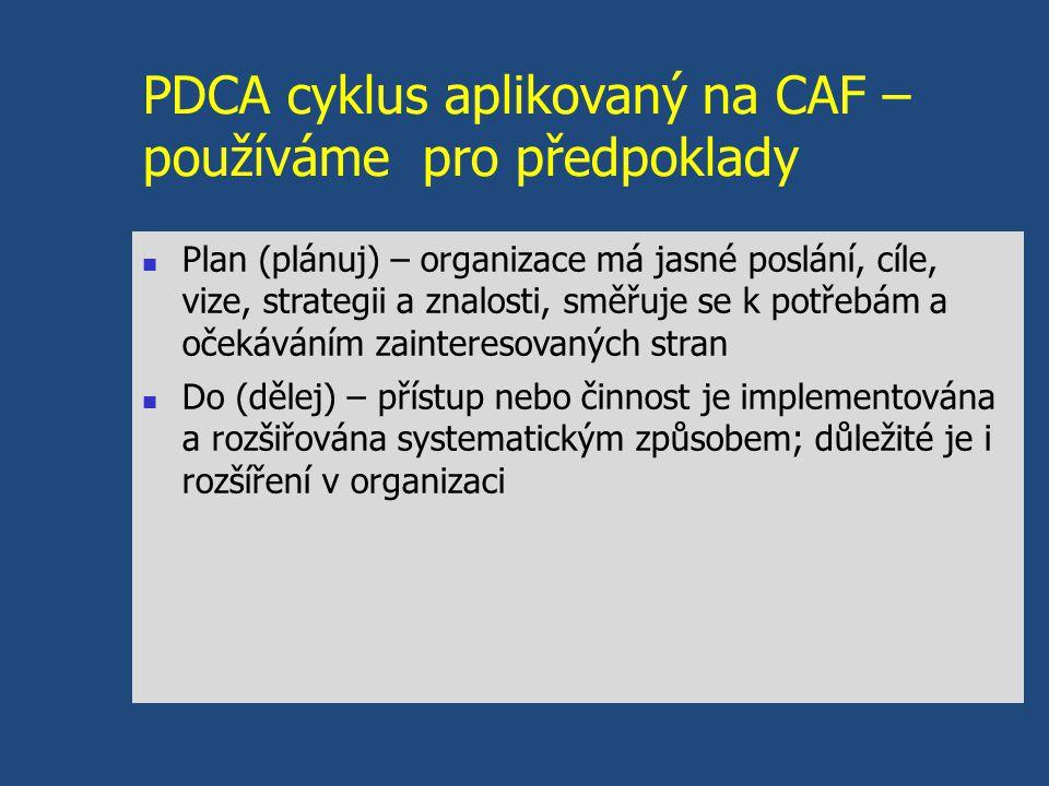 PDCA cyklus aplikovaný na CAF – používáme pro předpoklady Plan (plánuj) – organizace má jasné poslání, cíle, vize, strategii a znalosti, směřuje se k potřebám a očekáváním zainteresovaných stran Do (dělej) – přístup nebo činnost je implementována a rozšiřována systematickým způsobem; důležité je i rozšíření v organizaci