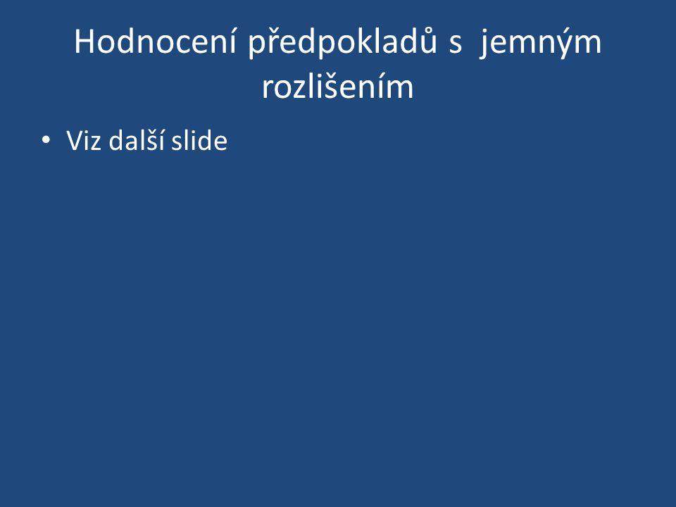Hodnocení předpokladů s jemným rozlišením Viz další slide