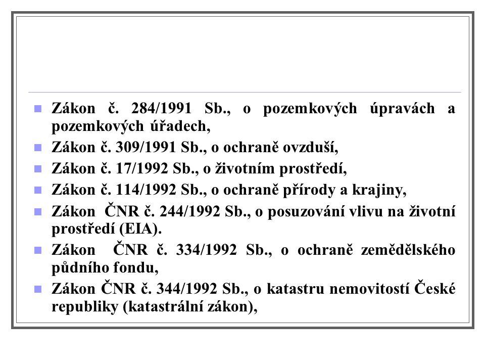 Zákon č. 284/1991 Sb., o pozemkových úpravách a pozemkových úřadech, Zákon č.