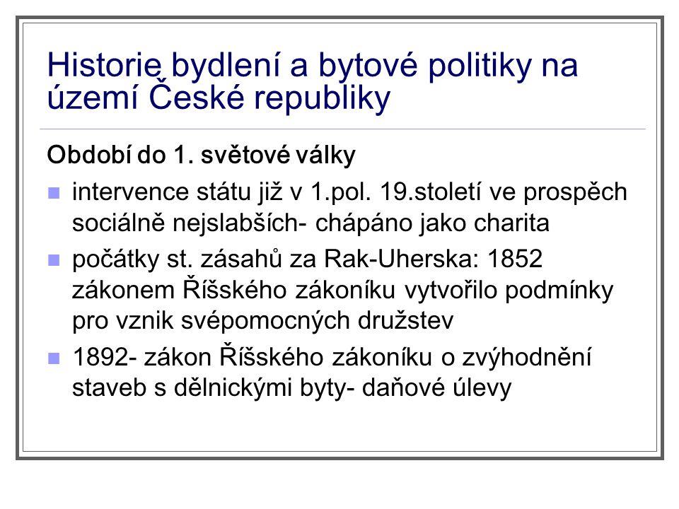 Historie bydlení a bytové politiky na území České republiky Období do 1.
