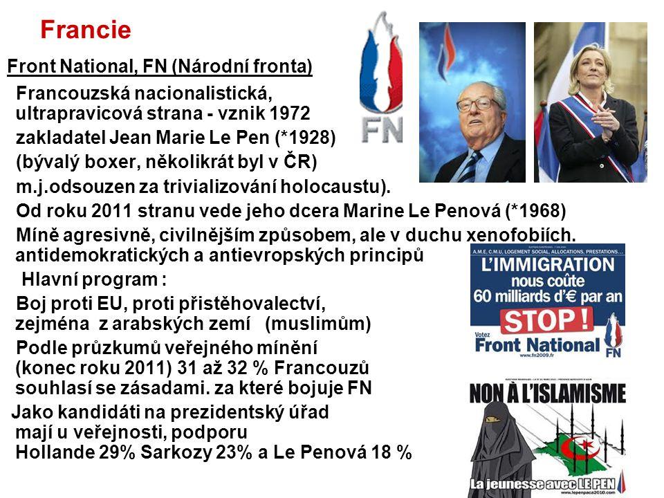 Belgie Imigrace a komplikované státoprávní uspořádání Belgie vedou k vzestupu krajní pravice Front National– FN Frankofonní ultrapravicová strana s podobným programem jako fracouzská FN Vlaams Blok - VB (Vlámský blok ) patřil do roku 2004 mezi nejdynamičtěji se rozvíjející politické strany v Belgii Nástupcem se stala strana Vlaams Belang (Vlámský zájem)