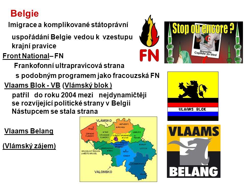 Belgie Imigrace a komplikované státoprávní uspořádání Belgie vedou k vzestupu krajní pravice Front National– FN Frankofonní ultrapravicová strana s po