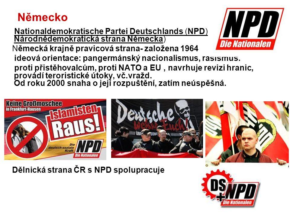 Itálie Forza Nuova – FN (Nová síla) Italská neofašistická strana vznik 1997, hlásí ke katolickému tradicionalismu Španělsko Demokracia Nacional DN (Mírodní demokracie) Vznik 1995 – podobný program jako francouzská FN Nacionalismus, fašismus, odmítání imigrantů