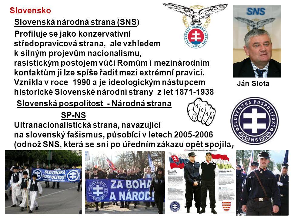 Slovensko Slovenská národná strana (SNS) Profiluje se jako konzervativní středopravicová strana, ale vzhledem k silným projevům nacionalismu, rasistic