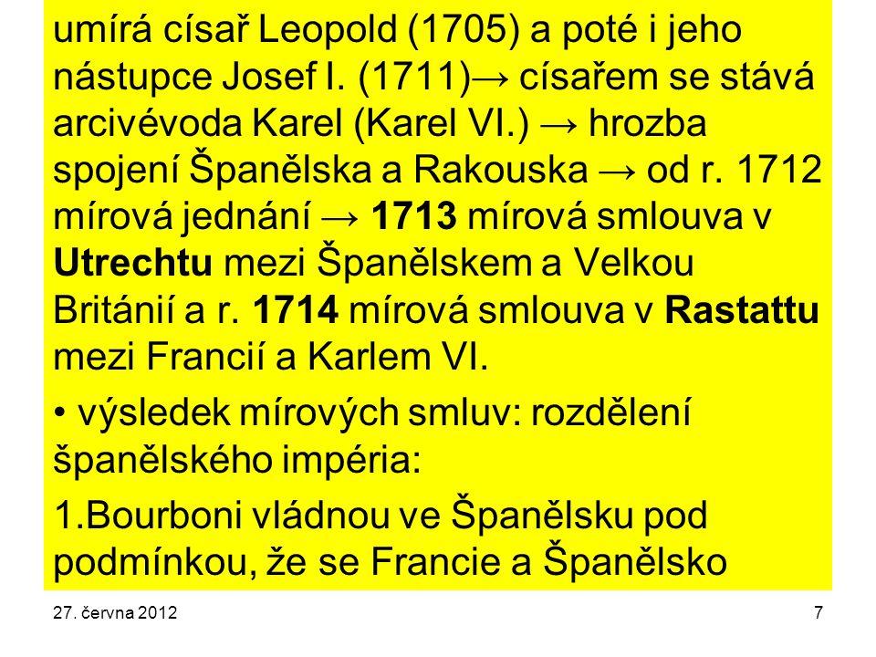 umírá císař Leopold (1705) a poté i jeho nástupce Josef I. (1711)→ císařem se stává arcivévoda Karel (Karel VI.) → hrozba spojení Španělska a Rakouska