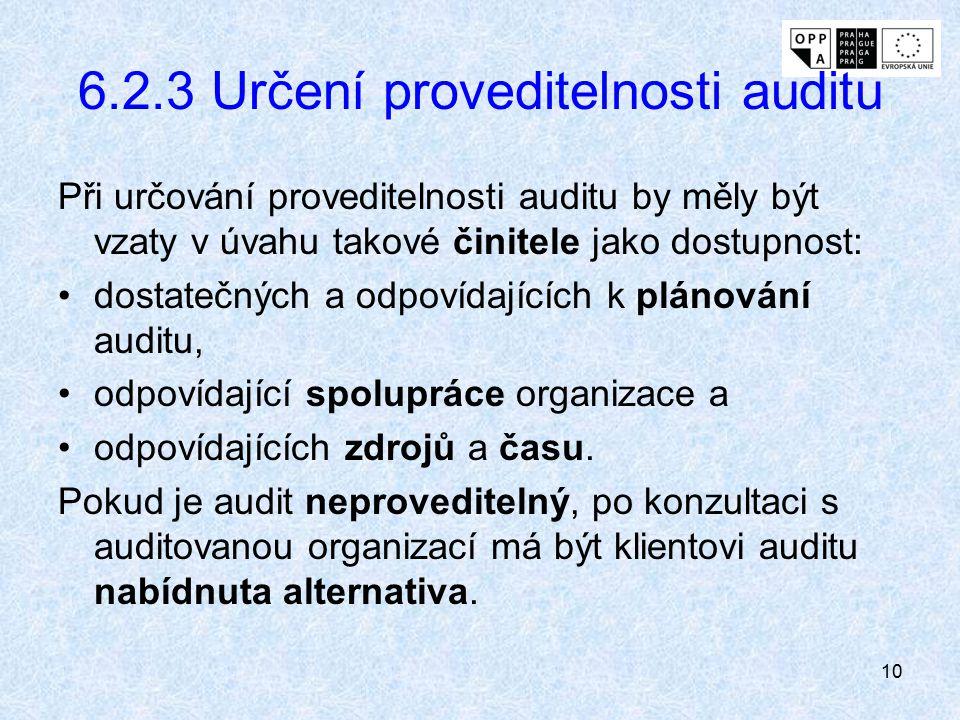 10 6.2.3 Určení proveditelnosti auditu Při určování proveditelnosti auditu by měly být vzaty v úvahu takové činitele jako dostupnost: dostatečných a o