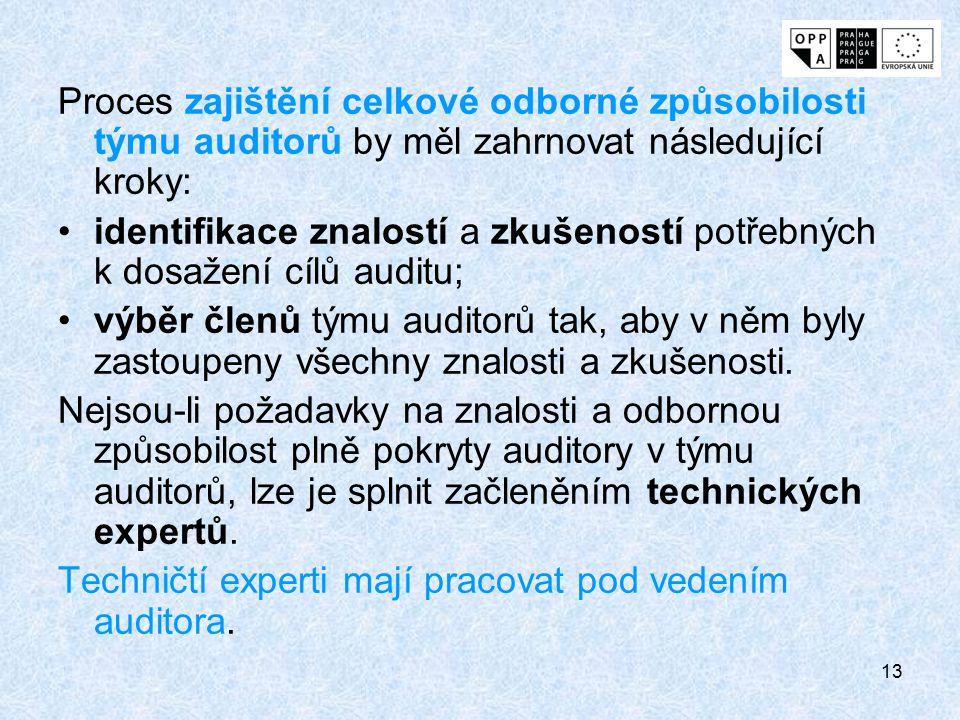 13 Proces zajištění celkové odborné způsobilosti týmu auditorů by měl zahrnovat následující kroky: identifikace znalostí a zkušeností potřebných k dos