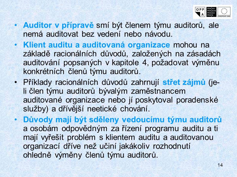 14 Auditor v přípravě smí být členem týmu auditorů, ale nemá auditovat bez vedení nebo návodu. Klient auditu a auditovaná organizace mohou na základě