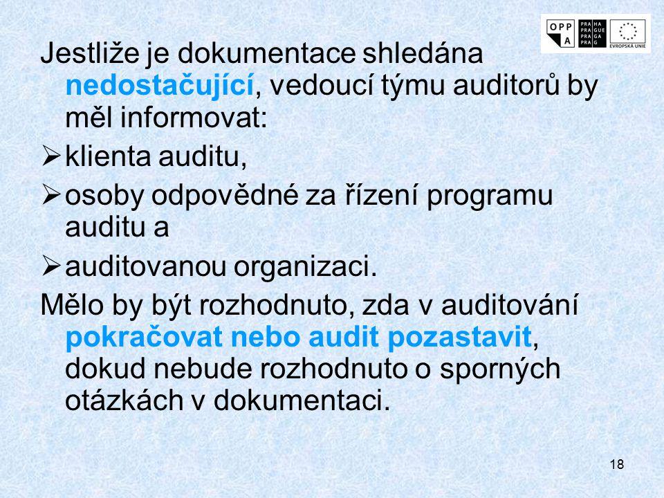 18 Jestliže je dokumentace shledána nedostačující, vedoucí týmu auditorů by měl informovat:  klienta auditu,  osoby odpovědné za řízení programu aud