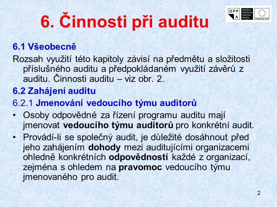 23 6.4.2 Přidělení práce týmu auditorů Vedoucí týmu auditorů má při poradě týmu přidělit každému členu týmu odpovědnost za auditování specifických procesů, funkcí, lokalit, oblastí nebo činností.