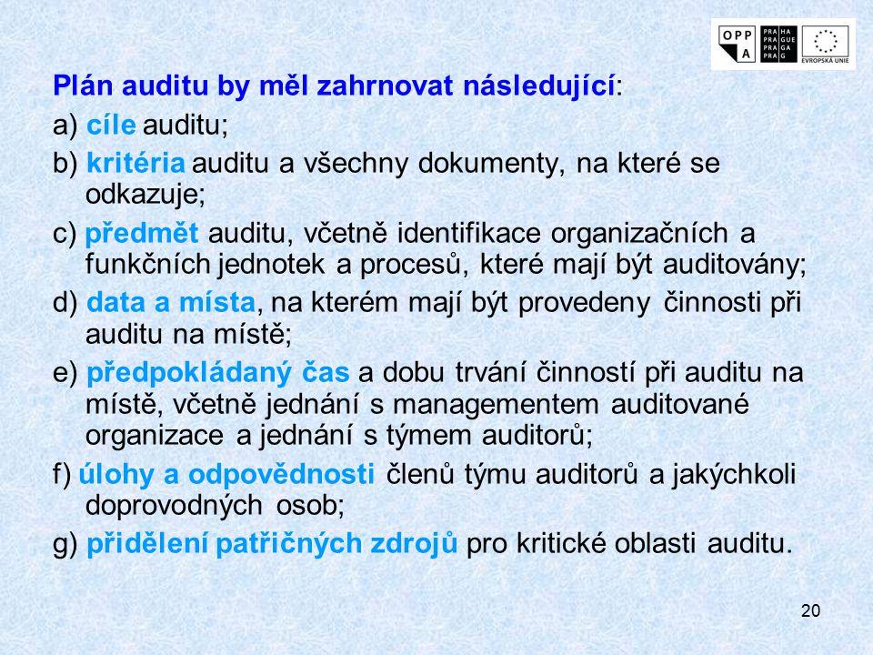 20 Plán auditu by měl zahrnovat následující: a) cíle auditu; b) kritéria auditu a všechny dokumenty, na které se odkazuje; c) předmět auditu, včetně i