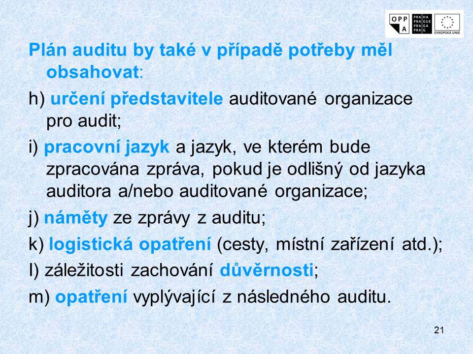 21 Plán auditu by také v případě potřeby měl obsahovat: h) určení představitele auditované organizace pro audit; i) pracovní jazyk a jazyk, ve kterém