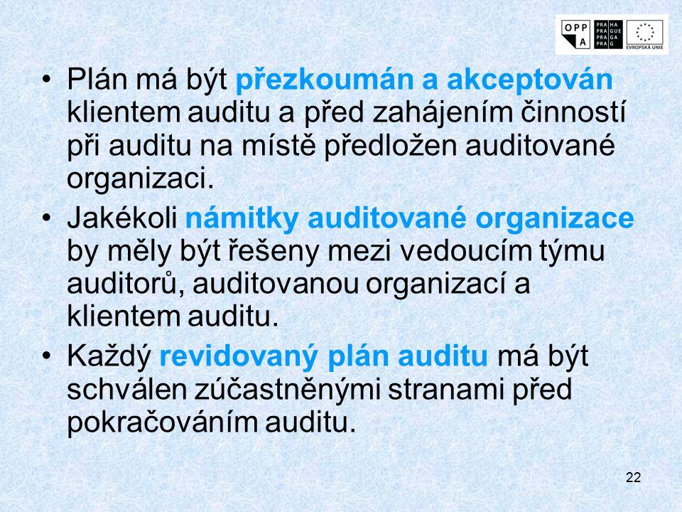 22 Plán má být přezkoumán a akceptován klientem auditu a před zahájením činností při auditu na místě předložen auditované organizaci. Jakékoli námitky