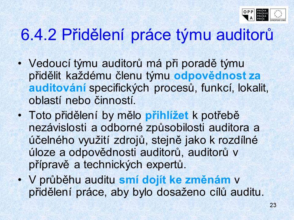23 6.4.2 Přidělení práce týmu auditorů Vedoucí týmu auditorů má při poradě týmu přidělit každému členu týmu odpovědnost za auditování specifických pro