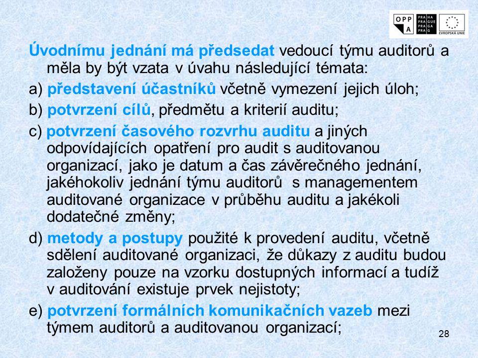 28 Úvodnímu jednání má předsedat vedoucí týmu auditorů a měla by být vzata v úvahu následující témata: a) představení účastníků včetně vymezení jejich