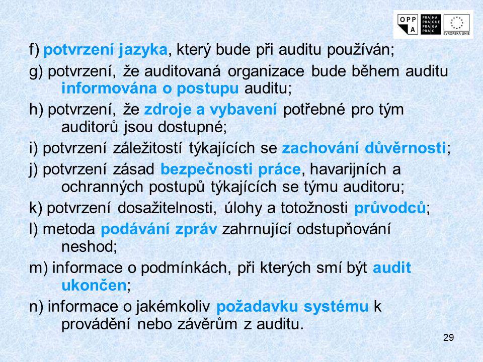 29 f) potvrzení jazyka, který bude při auditu používán; g) potvrzení, že auditovaná organizace bude během auditu informována o postupu auditu; h) potv