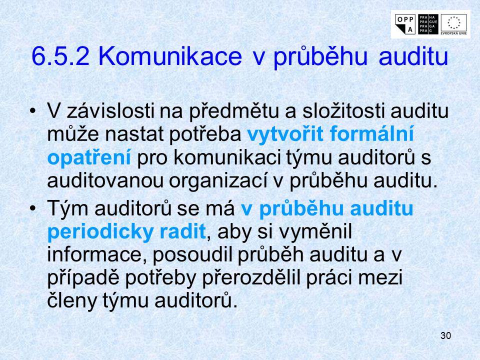 30 6.5.2 Komunikace v průběhu auditu V závislosti na předmětu a složitosti auditu může nastat potřeba vytvořit formální opatření pro komunikaci týmu a