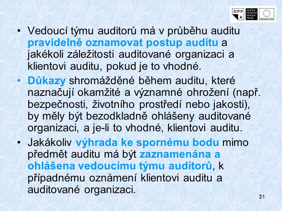 31 Vedoucí týmu auditorů má v průběhu auditu pravidelně oznamovat postup auditu a jakékoli záležitosti auditované organizaci a klientovi auditu, pokud
