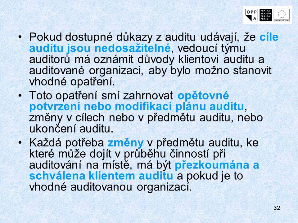 32 Pokud dostupné důkazy z auditu udávají, že cíle auditu jsou nedosažitelné, vedoucí týmu auditorů má oznámit důvody klientovi auditu a auditované or