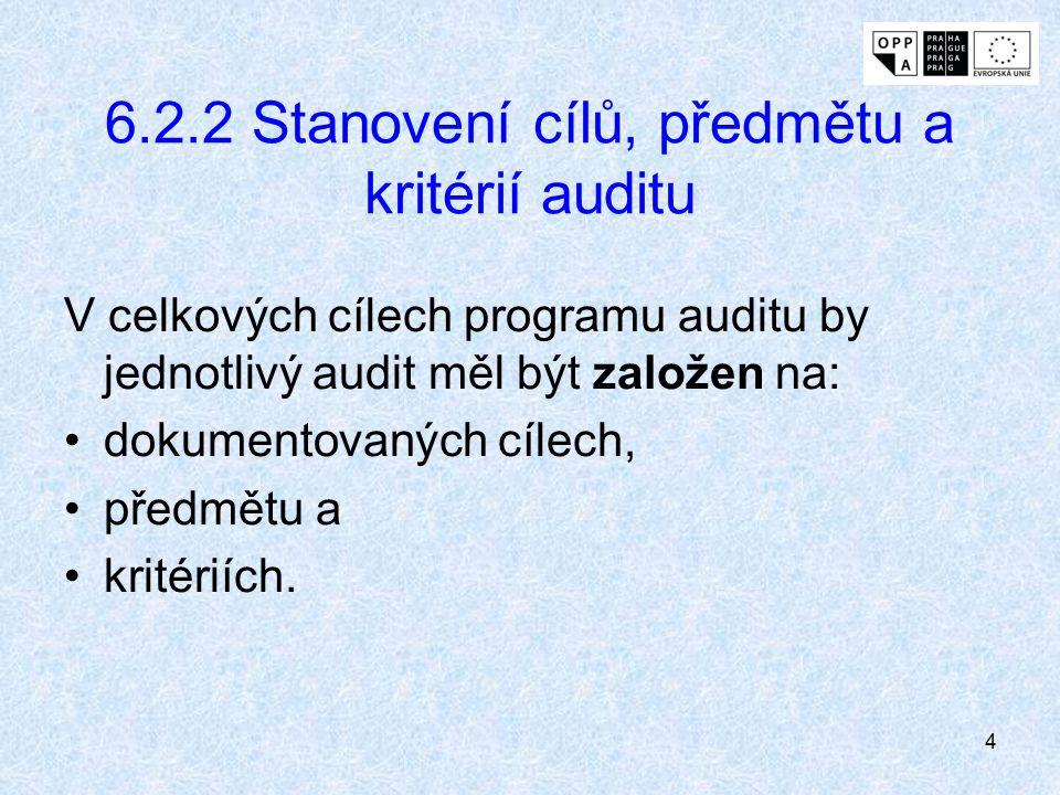 4 6.2.2 Stanovení cílů, předmětu a kritérií auditu V celkových cílech programu auditu by jednotlivý audit měl být založen na: dokumentovaných cílech,