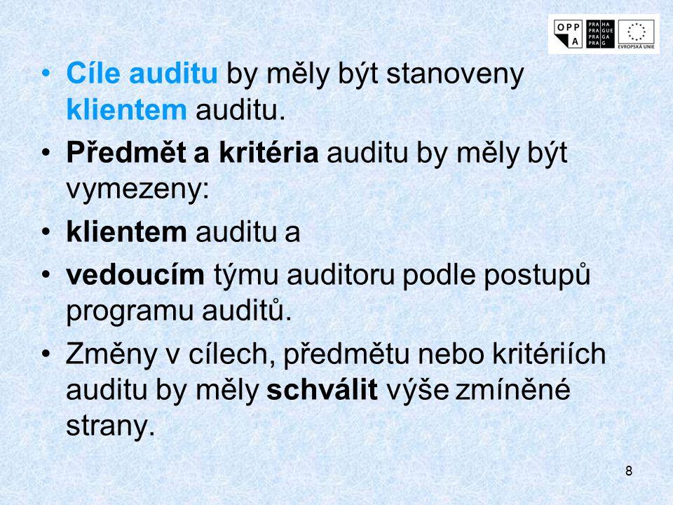8 Cíle auditu by měly být stanoveny klientem auditu. Předmět a kritéria auditu by měly být vymezeny: klientem auditu a vedoucím týmu auditoru podle po