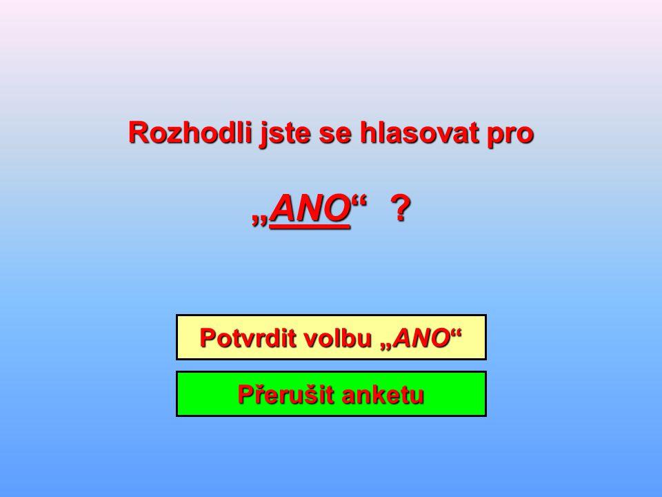 """Potvrdit volbu """"ANO Potvrdit volbu """"ANO Přerušit anketu Přerušit anketu Rozhodli jste se hlasovat pro Rozhodli jste se hlasovat pro """"ANO ?"""