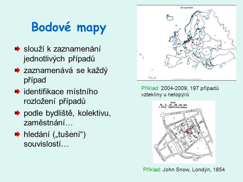 """Bodové mapy slouží k zaznamenání jednotlivých případů zaznamenává se každý případ identifikace místního rozložení případů podle bydliště, kolektivu, zaměstnání… hledání (""""tušení ) souvislostí… Příklad: John Snow, Londýn, 1854 Příklad: 2004-2009, 197 případů vztekliny u netopýrů"""