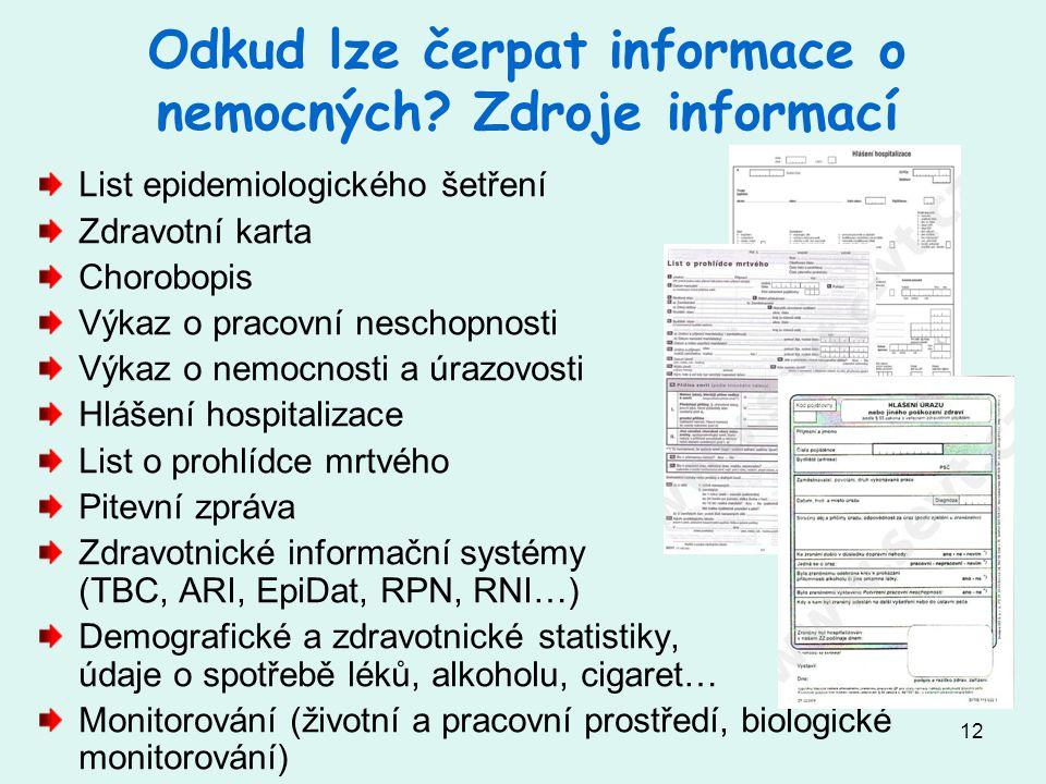 12 Odkud lze čerpat informace o nemocných.