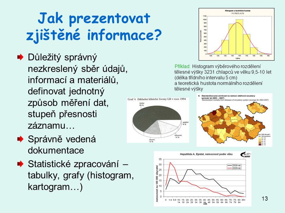 13 Jak prezentovat zjištěné informace.