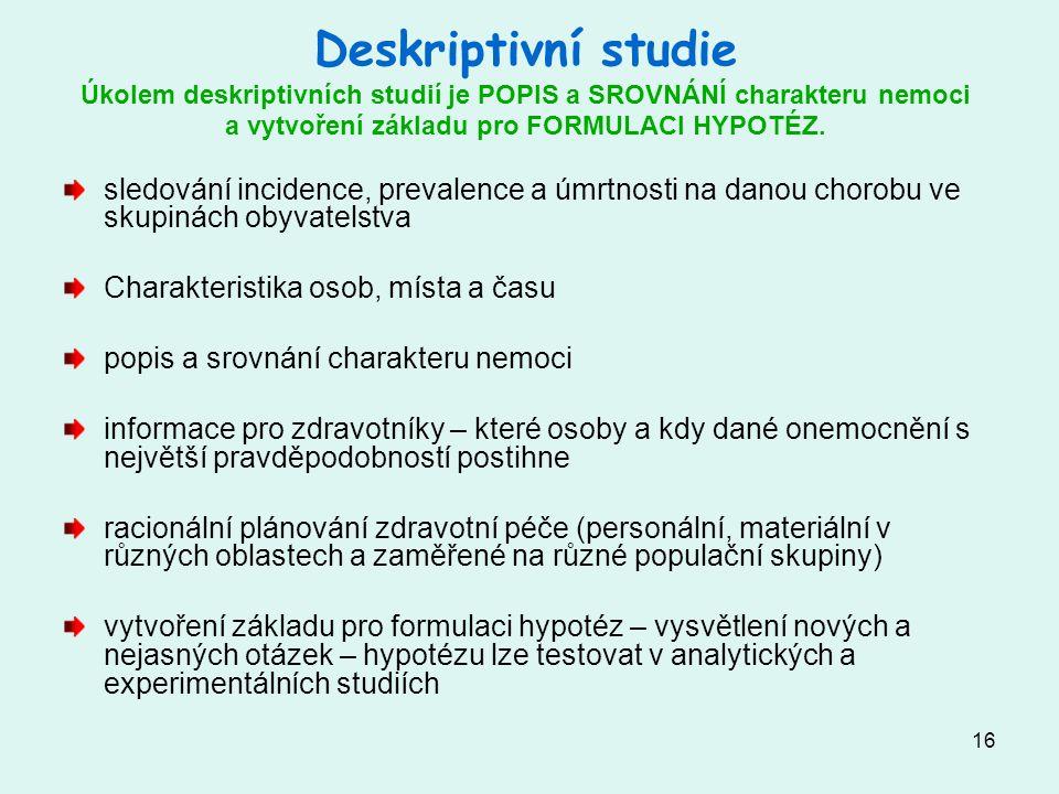16 Deskriptivní studie Úkolem deskriptivních studií je POPIS a SROVNÁNÍ charakteru nemoci a vytvoření základu pro FORMULACI HYPOTÉZ.