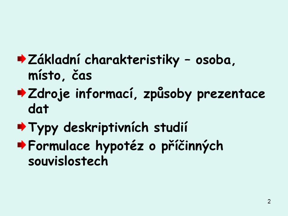 2 Základní charakteristiky – osoba, místo, čas Zdroje informací, způsoby prezentace dat Typy deskriptivních studií Formulace hypotéz o příčinných souvislostech