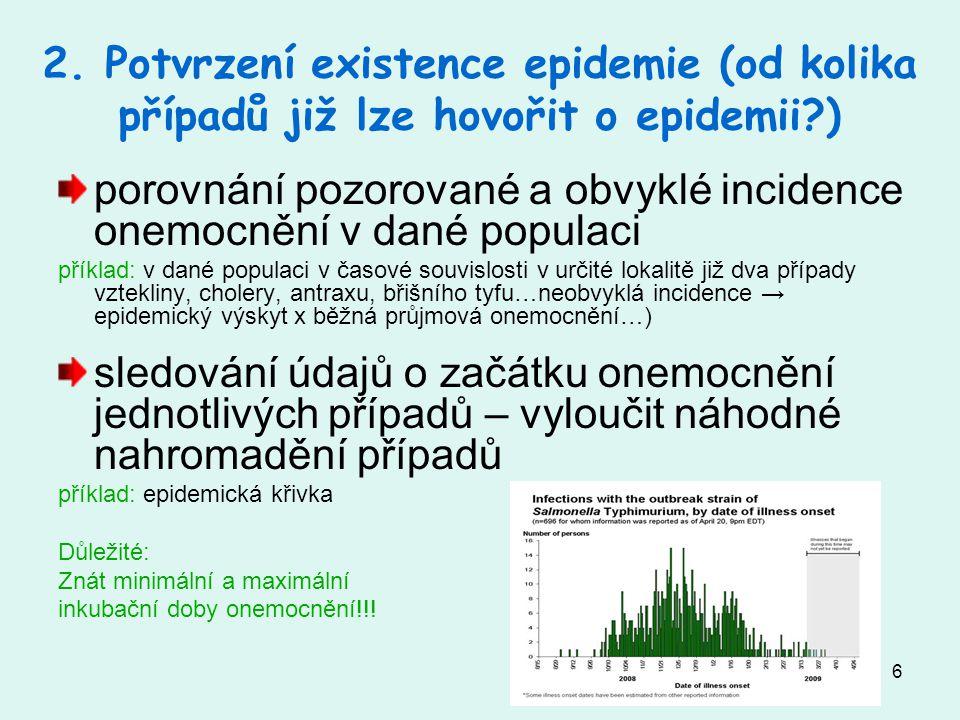 6 2. Potvrzení existence epidemie (od kolika případů již lze hovořit o epidemii?) porovnání pozorované a obvyklé incidence onemocnění v dané populaci