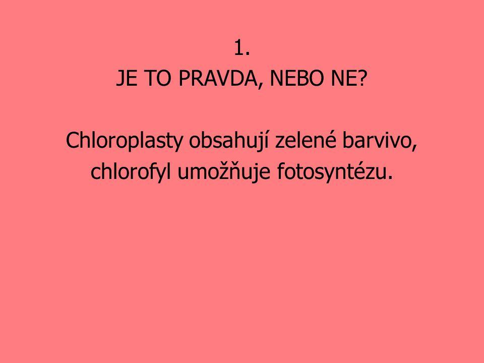 1. JE TO PRAVDA, NEBO NE? Chloroplasty obsahují zelené barvivo, chlorofyl umožňuje fotosyntézu.