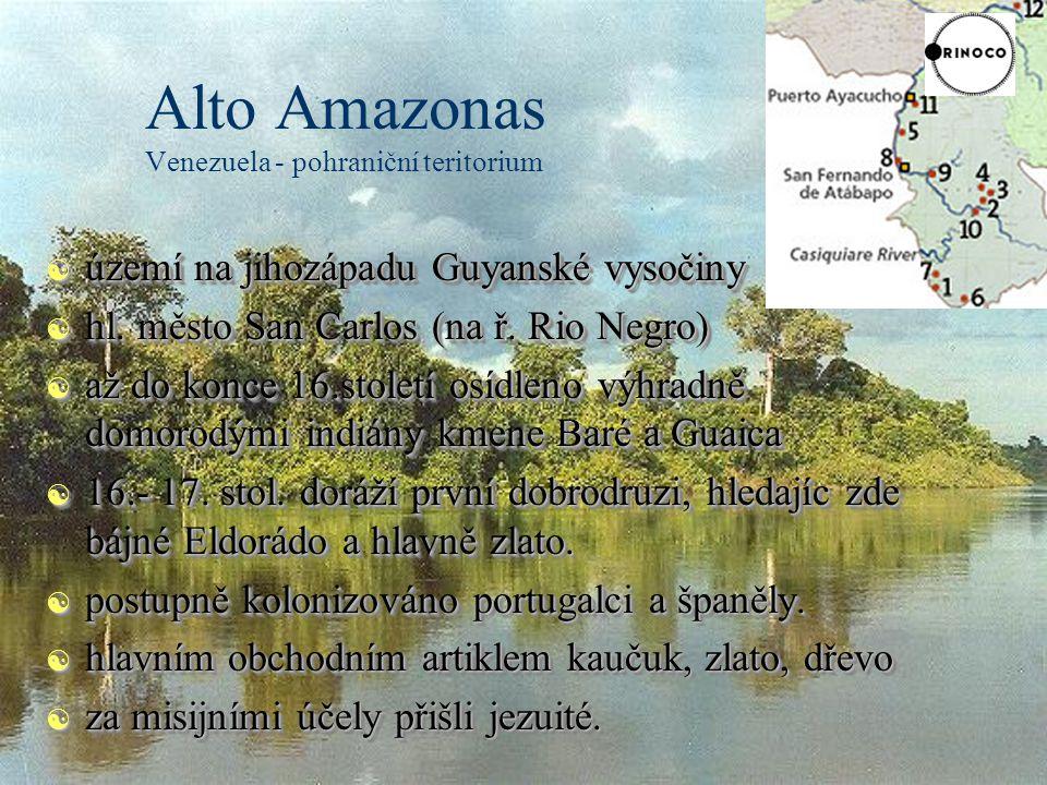 Alto Amazonas Venezuela - pohraniční teritorium [ území na jihozápadu Guyanské vysočiny [ hl.