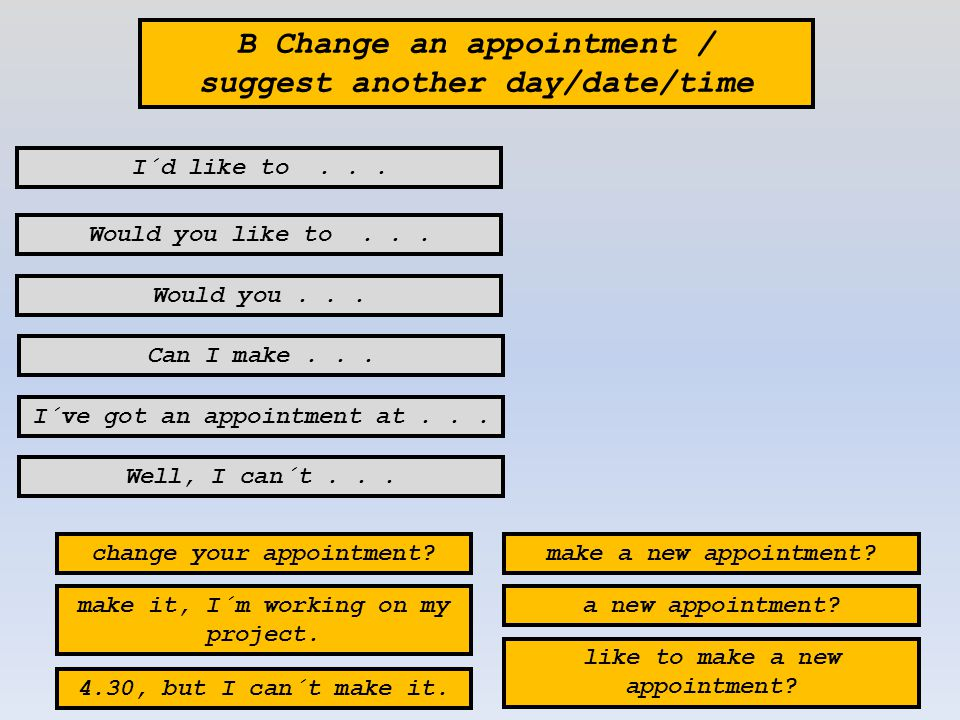 B Change an appointment / suggest another day/date/time I´ve got an appointment at...